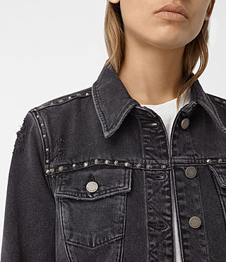 Womens Zita Studded Denim Jacket (Washed Black) - product_image_alt_text_2