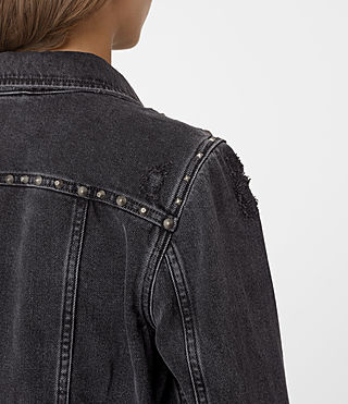 Womens Zita Studded Denim Jacket (Washed Black) - product_image_alt_text_3