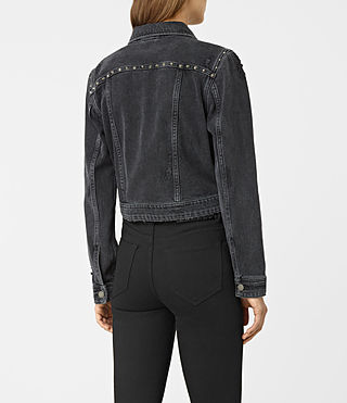 Womens Zita Studded Denim Jacket (Washed Black) - product_image_alt_text_4