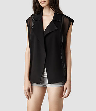 Womens Adria Sleeveless Biker Jacket (Black)