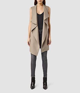 Womens Ora Sleeveless Coat (Dune)