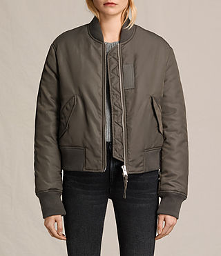 Femmes Bree Laced Back Bomber Jacket (Khaki Green)