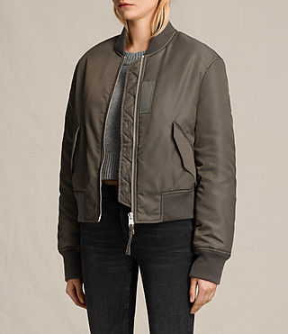 Womens Bree Laced Back Bomber Jacket (Khaki Green) - product_image_alt_text_3