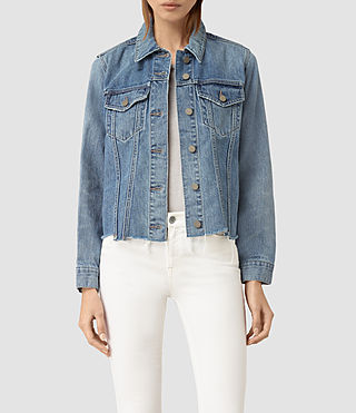 Damen Justina Rip Denim Jacket (Indigo Blue)