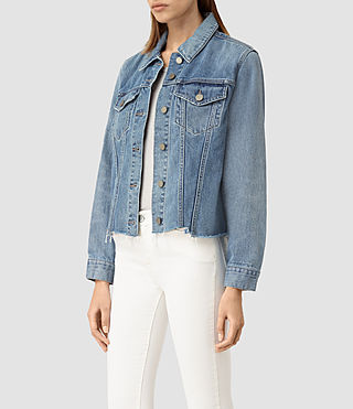 Mujer Justina Rip Denim Jacket (Indigo Blue) - product_image_alt_text_2