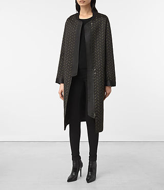 Damen Fia Embroidered Parka (BLACK/KHAKI GREEN)