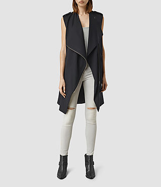 Damen Ellaria Sleeveless Coat (Ink Blue)