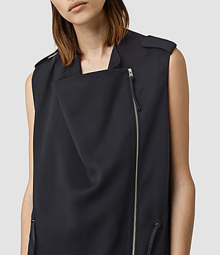 Damen Ellaria Sleeveless Coat (Ink Blue) - product_image_alt_text_2