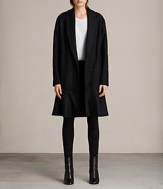 Women's Grace Ruffle Coat (Black) - Image 1