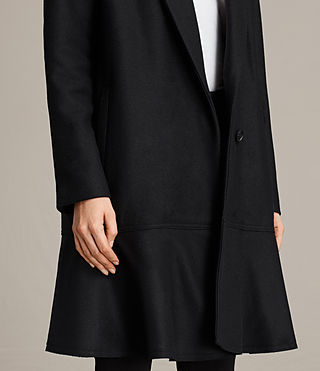 Women's Grace Ruffle Coat (Black) - Image 2