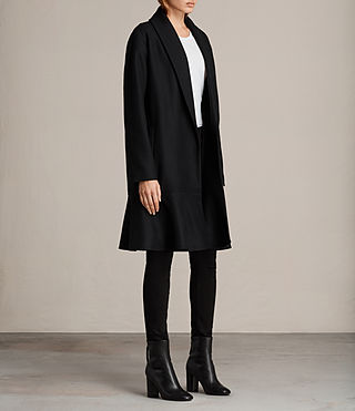 Women's Grace Ruffle Coat (Black) - Image 3