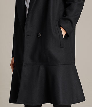 Women's Grace Ruffle Coat (Black) - Image 4