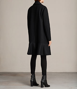 Women's Grace Ruffle Coat (Black) - Image 6