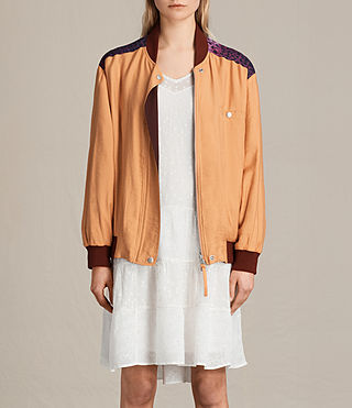 Femmes Cleo Reversible Bomber Jacket (Orange)