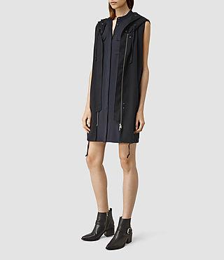 Femmes Artae Sleeveless Coat (Ink Blue) - product_image_alt_text_2