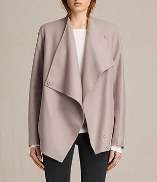 Womens Lora Rib Jacket (Taupe) - product_image_alt_text_1