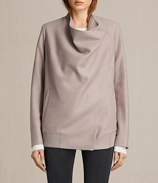 Womens Lora Rib Jacket (Taupe) - product_image_alt_text_2