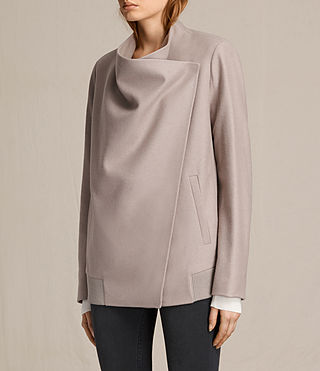 Womens Lora Rib Jacket (Taupe) - product_image_alt_text_3