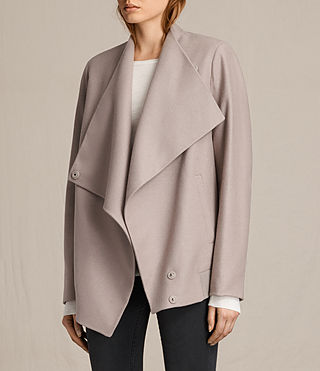 Womens Lora Rib Jacket (Taupe) - product_image_alt_text_5