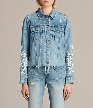 Women's Philly Embroidered Denim Jacket (Indigo Blue)