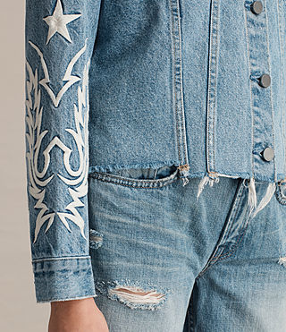 Womens Philly Embroidered Denim Jacket (Indigo Blue) - product_image_alt_text_2