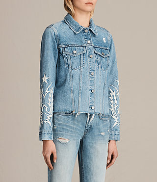 Womens Philly Embroidered Denim Jacket (Indigo Blue) - product_image_alt_text_3
