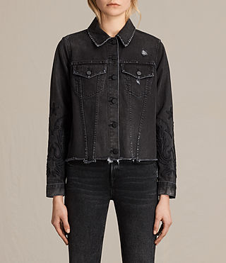 Womens Philly Embroidered Denim Jacket (Washed Black)