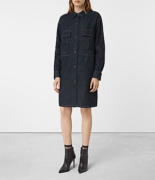 Damen Hazel Denim Shirt Coat (Indigo Blue)