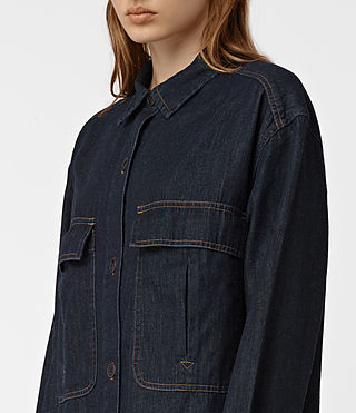 Womens Hazel Denim Shirt Coat (Indigo Blue) - product_image_alt_text_3