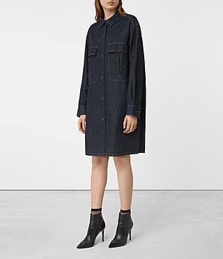 Womens Hazel Denim Shirt Coat (Indigo Blue) - product_image_alt_text_4