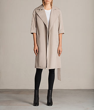 Donne Trench Luna in twill (Putty Grey) - Image 1