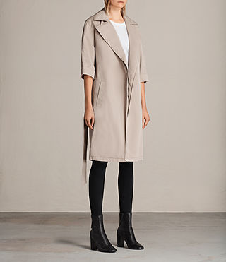 Donne Trench Luna in twill (Putty Grey) - Image 3