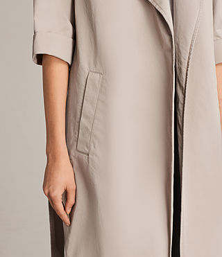 Donne Trench Luna in twill (Putty Grey) - Image 4