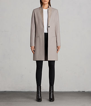 Womens Leni Coat (Taupe Brown) - product_image_alt_text_1