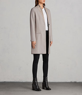 Women's Leni Coat (Taupe Brown) - product_image_alt_text_4