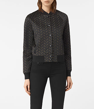 Womens Fia Embroidered Bomber Jacket (BLACK/KHAKI GREEN)