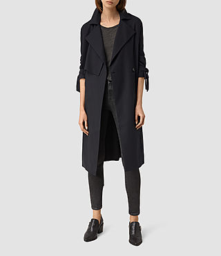 Womens Kiana Mac Coat (Ink Blue) - product_image_alt_text_1