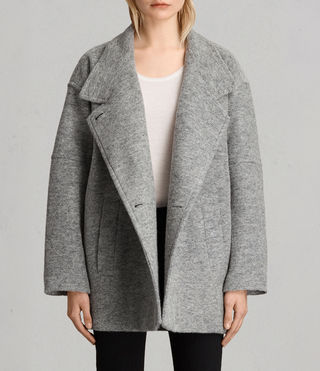 Womens 미드 리치 코트 (Pale Grey) - product_image_alt_text_1
