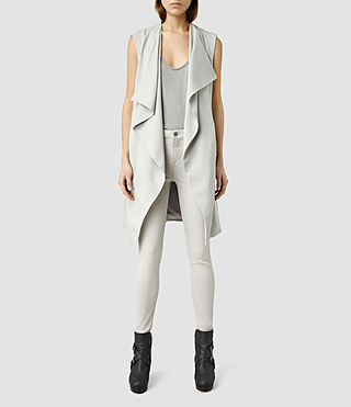Womens Hace Sleeveless Trench Coat (Ice Blue)