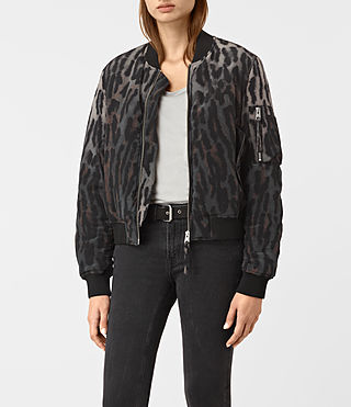 Women's Sinai Silk Bomber Jacket (TAUPE GREY) -