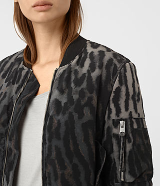 Women's Sinai Silk Bomber Jacket (TAUPE GREY) - product_image_alt_text_3