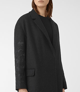 Womens Charlie Embroidered Coat (Charcoal) - product_image_alt_text_2