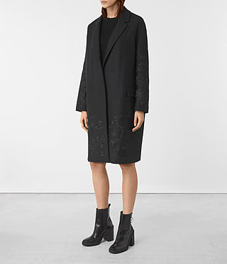 Womens Charlie Embroidered Coat (Charcoal) - product_image_alt_text_3