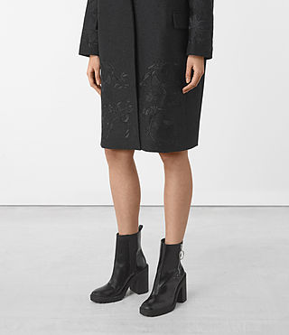 Womens Charlie Embroidered Coat (Charcoal) - product_image_alt_text_4