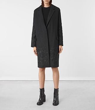 Damen Charlie Embroidered Coat (Charcoal Grey)
