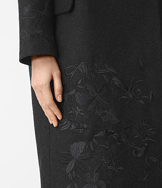 Mujer Charlie Embroidered Coat (Charcoal Grey) - product_image_alt_text_4