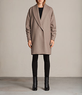 Womens Kenzie Ruche Coat (DUNE BROWN) - Image 1