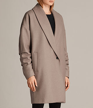 Womens Kenzie Ruche Coat (DUNE BROWN) - Image 3