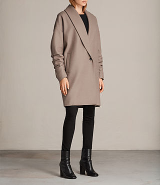 Womens Kenzie Ruche Coat (DUNE BROWN) - Image 4