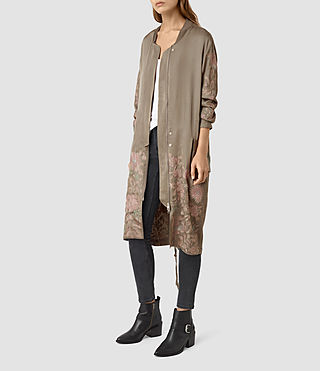 Womens Anando Embroidered Parka (Khaki Green)
